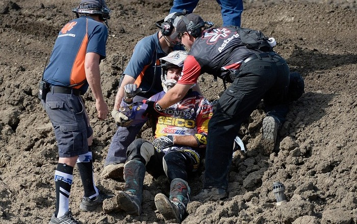 LAKEWOOD, CO - May 30: Eli Tomac his helped up after having an accident during the 450 Class Moto #12race Saturday, May 30, 2015 at Thunder Valley Motocross Park in Lakewood, Colorado. 450 Class rider Ryan Dungey finished first overall for the Thunder Valley race. (Photo By Brent Lewis/The Denver Post via Getty Images)