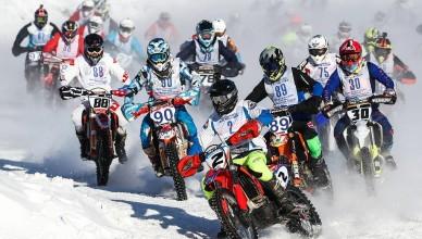 """MOSCOW REGION, RUSSIA - FEBRUARY 8, 2020: Riders compete on a Gallax Club motorcycle racing circuit during the Chkalov All-Russian Motocross Championship in the village of Borodino. Sergei Bobylev/TASS  Ðîññèÿ. Ìîñêîâñêàÿ îáëàñòü. Ó÷àñòíèêè ñîðåâíîâàíèé ïî ìîòîêðîññó íà ïðèç èìåíè Â.Ï. ×êàëîâà âî âðåìÿ çàåçäà íà ìîòîòðåêå êëóáà """"Ãàëëàêñ"""" â äåðåâíå Áîðîäèíî. Ñåðãåé Áîáûëåâ/ÒÀÑÑ"""
